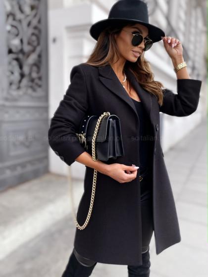 Wełniany płaszcz METROPOLITAN black