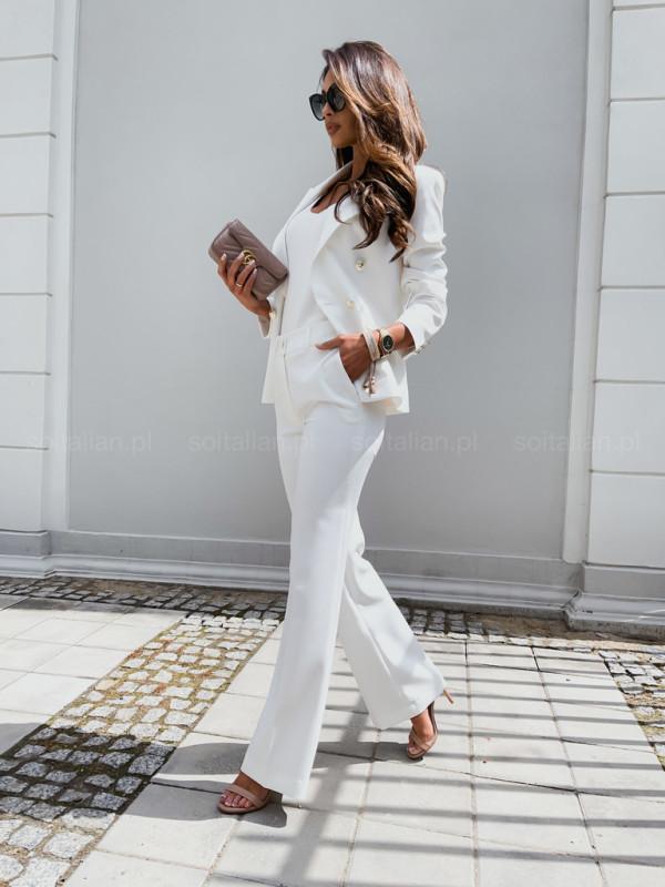 Spodnie LUXILY DZWONY creamy white