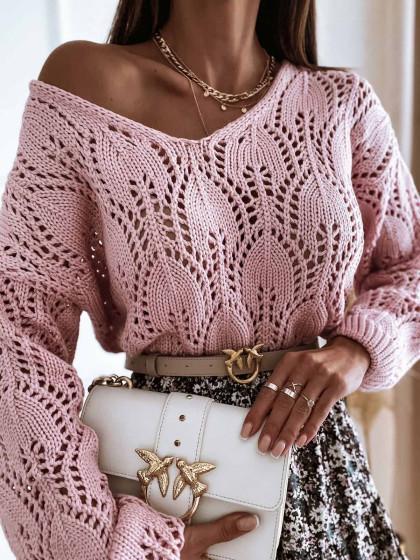 Sweter ażurowy HARRIETT pink