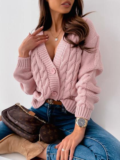 Sweter NELI z guzikami pink